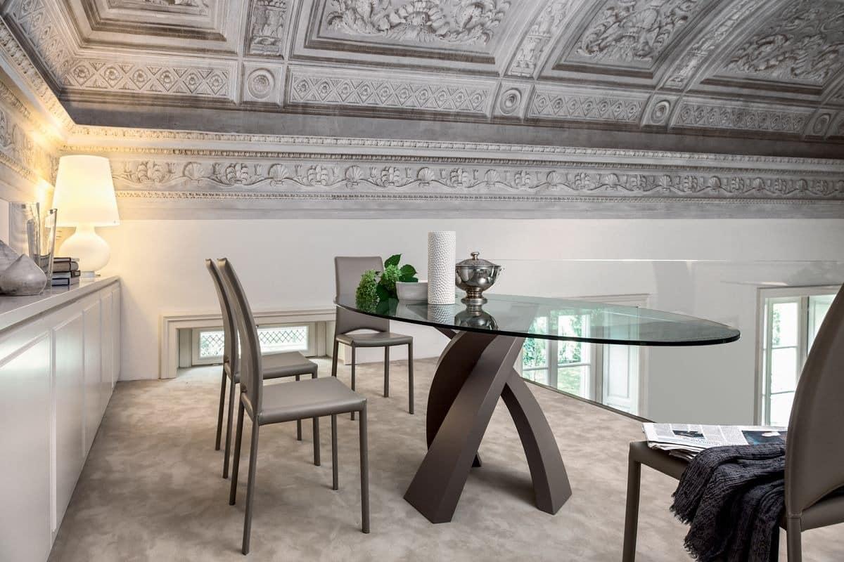 Esstisch mit runden glasplatte f r restaurant idfdesign for Moderne runde tische