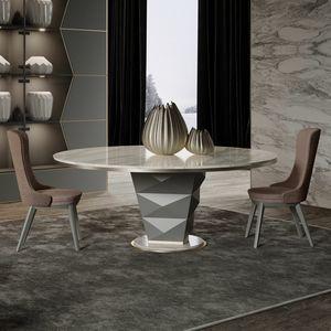 Erik, Runder Tisch mit Marmorplatte