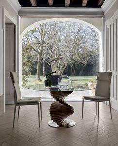 FIRENZE, Fester Tisch mit Massivholzrahmen und Basis aus poliertem Stahl