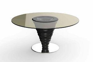Frames Art. T10, Tisch mit runder Glasplatte