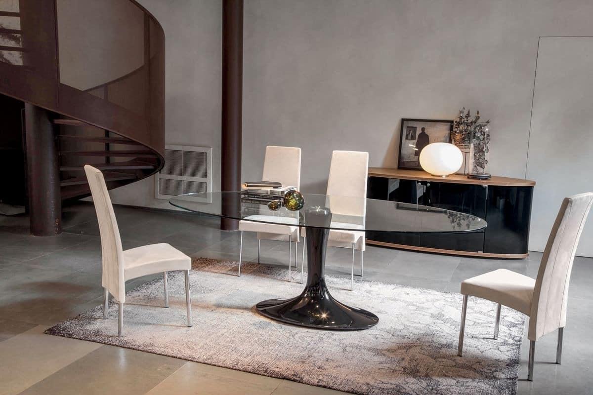 Tisch mit elliptischen glasplatte sockel aus lackiertem for Runde designer tische