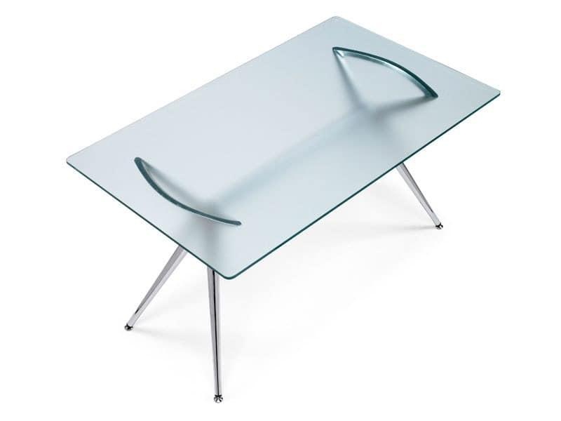 Metropolis 160x90 cm, Rechtecktisch, Metallkonstruktion und Glasplatte