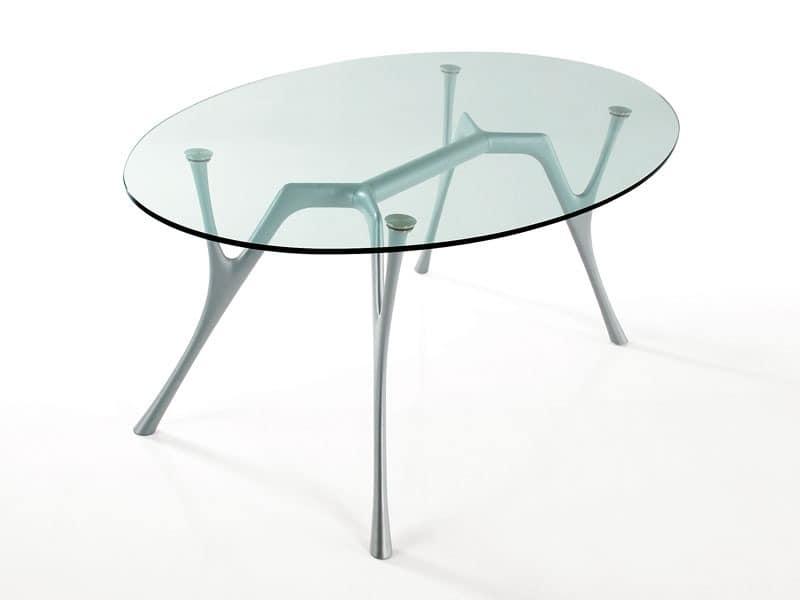 Pegaso, Ovalen Tisch aus Aluminium mit Glasplatte für Wohnzimmer