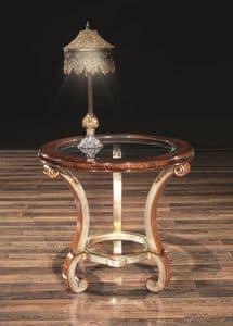 POISSY tisch 8681T, Lampen-Tisch, mit runder Glasplatte für Wohnzimmer