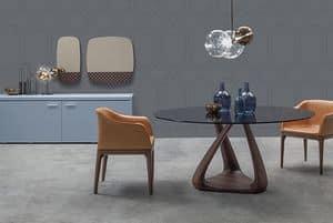 RIZOMA, Design-Tisch mit Glasplatte, Walnuss-Struktur