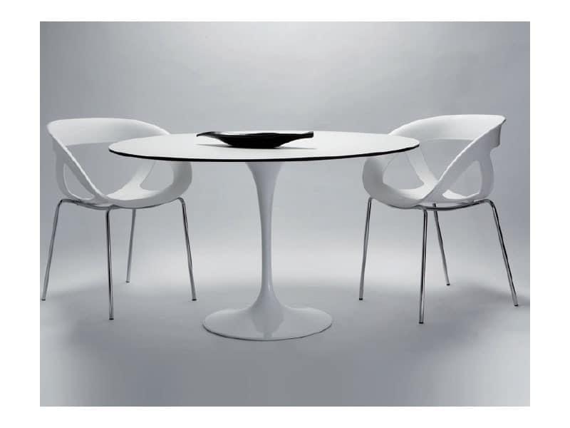 Runder tisch mit lackiertem aluminium grund idfdesign for Moderne runde tische