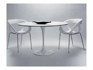Saturno cod. 107 cod. 116, Runder Tisch mit lackiertem Aluminium-Grund