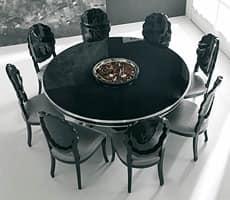 Gl nzend schwarz lackierten tisch mit blattsilber details for Runde holztische