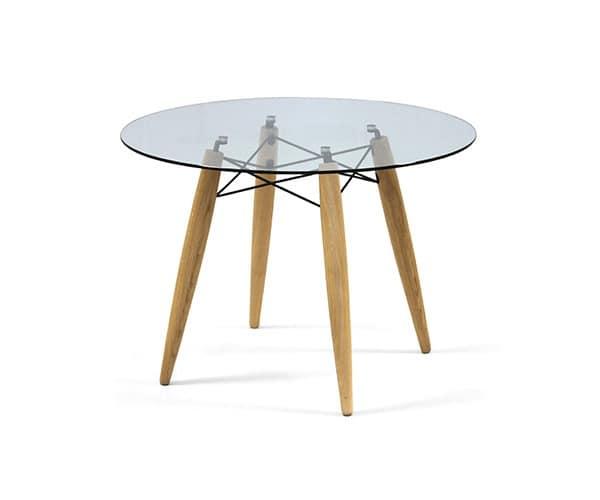 Runder Tisch Glasplatte : Runder Tisch, Glasplatte, FesthandgefertigteHolz-Struktur