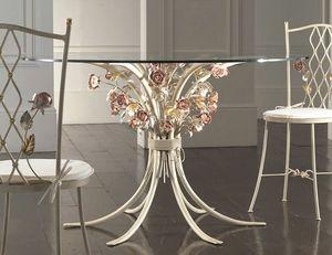 T.5470/6, Schmiedeeiserner Tisch mit Glasplatte