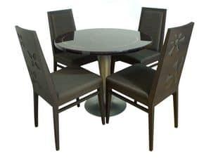 TD01, Runder Tisch aus Stahl, Fiberglas-Top, Kupfereinsätze