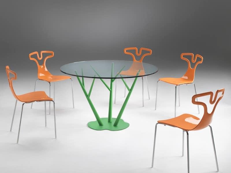 Tree, Esstisch mit runden Tischplatte aus Glas