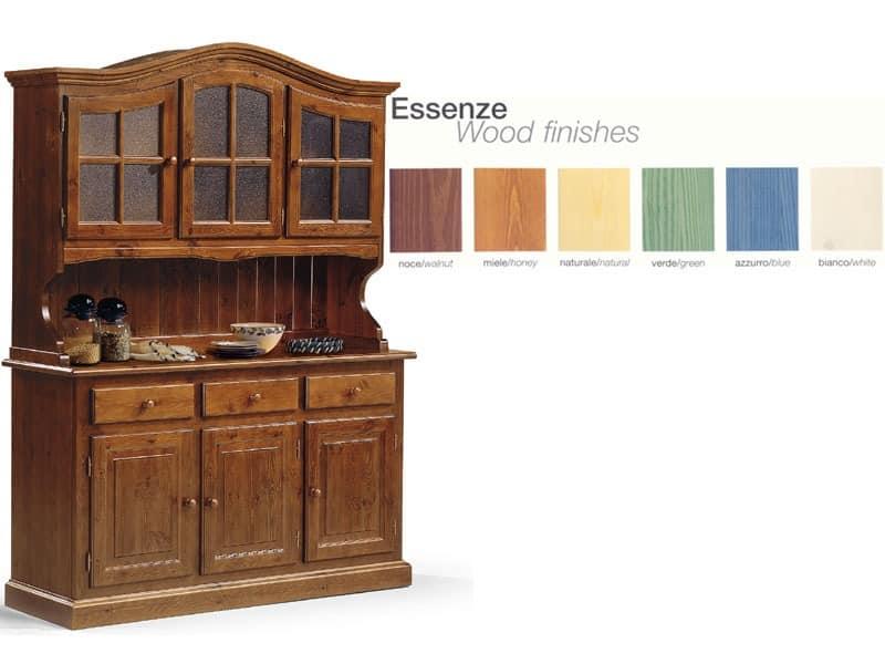 VAD/3, Anrichte aus Holz mit Glasschrank, für rustikale Küche