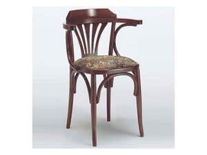121 T, Rustikalen Stuhl mit Armlehnen, gebogene Holz, für Haus