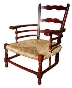 Victoire BR.0252, Provencal lackierte Sessel mit Armlehnen, Sitzfläche, für die rustikalen Umgebungen