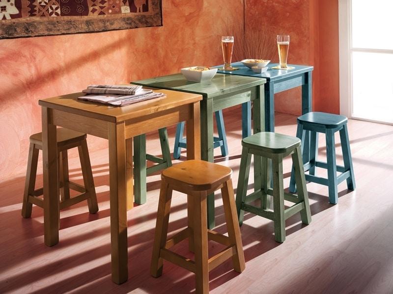 Collection Amb 06, Holzhocker im rustikalen Stil, für Wein Bars und Salons