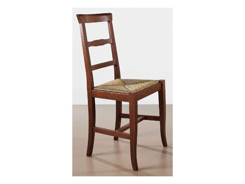 138, Festen Stuhl im rustikalen Stil, einfach und komfortabel, für Bars