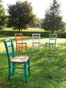 Art. 058 Nature, Rustikal Stuhl aus getöntem Holz, Sitz in Reisstroh