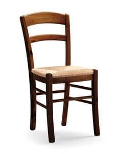 Dana, Rustikal Stuhl in Kiefer Rahmen, geflochtenem Stroh Sitz
