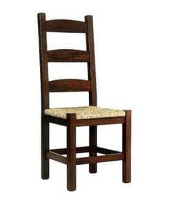Friulana, Rustikal Stuhl mit Holzstruktur und mit Sitz in Stroh