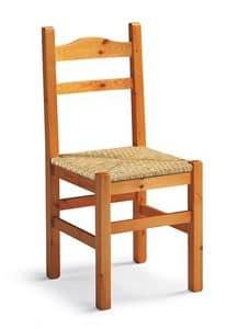 Mabel, Rustikal Stuhl aus Holz, gewebte Sitzfläche