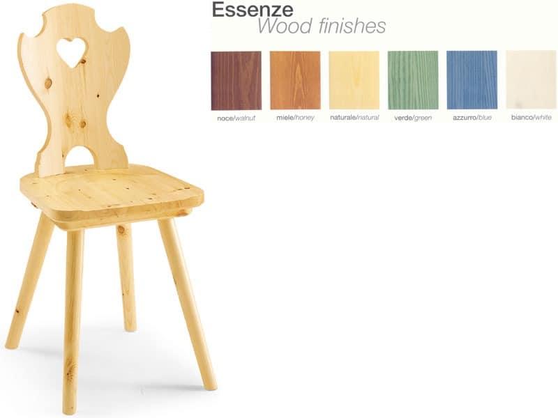 S/101 curva cuore, Stuhl ganz aus Holz, im rustikalen Stil