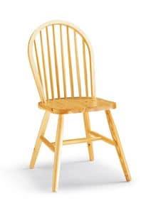 S/146 Windsor Stuhl, Rustikaler Stuhl komplett aus Kiefer, mit senkrechten Latten