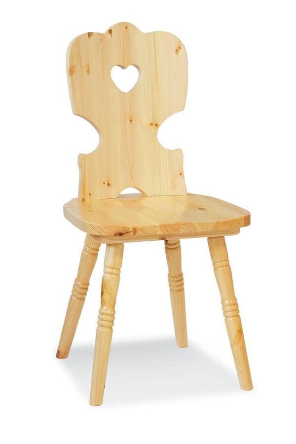 Rustikale Stühle rustikaler stuhl in kiefer mit loch auf der rückenlehne idfdesign