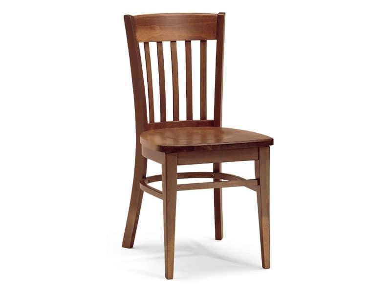 Zurigo, Stuhl ganz aus Holz mit rechteckigem Rückenlehne aus