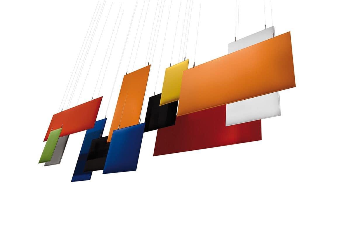 schallabsorbierenden platten von der decke idfdesign. Black Bedroom Furniture Sets. Home Design Ideas