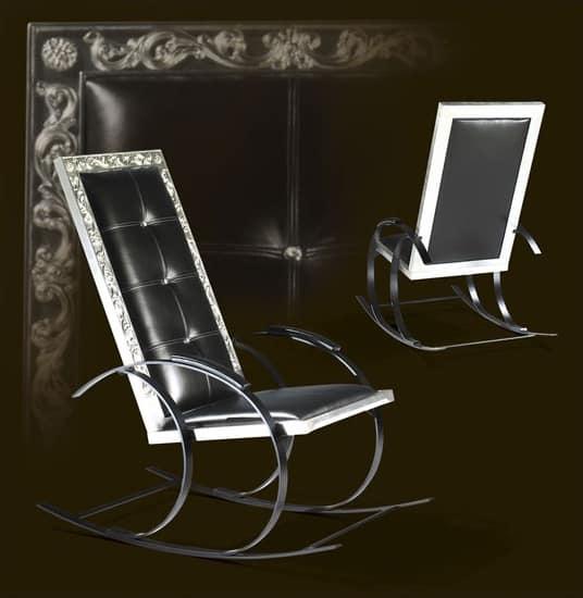 schaukelstuhl aus esche mit schwarzem leder bezogen idfdesign. Black Bedroom Furniture Sets. Home Design Ideas