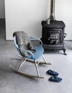 Elephant Rocking Chair, Schaukelstuhl mit Sockel aus Massivholz und Polyurethan-Schale