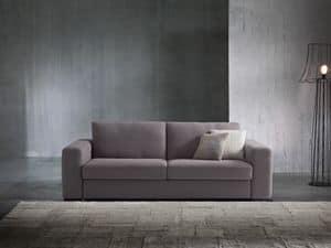 Argo, Schlafsofa mit modernen Linien, bezogen mit Stoff oder Leder