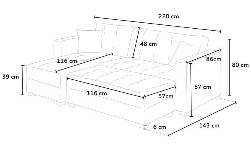 Ecksofa mit 3-Sitzer-Halbinsel mit Hocker MADREPERLA, Container-Bereitbett, Container Schlafsofa mit Halbinsel