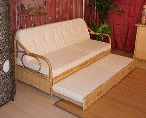 Schlafsofa Giunco, Sofabett mit Stockstruktur, ethnische Art
