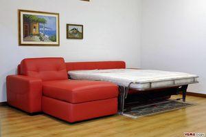 Schlafsofa mit Aufbewahrungshalbinsel, Doppelschlafcouch mit Container-Chaiselongue