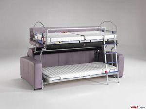 Sofa mit Etagenbett, 3-Sitzer-Etagenbett-Sofa mit Made in Italy-Mechanismus