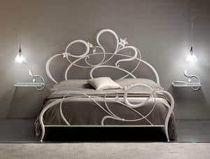 Anemone, Doppelbett aus Schmiedeeisen, geschwungene Linien