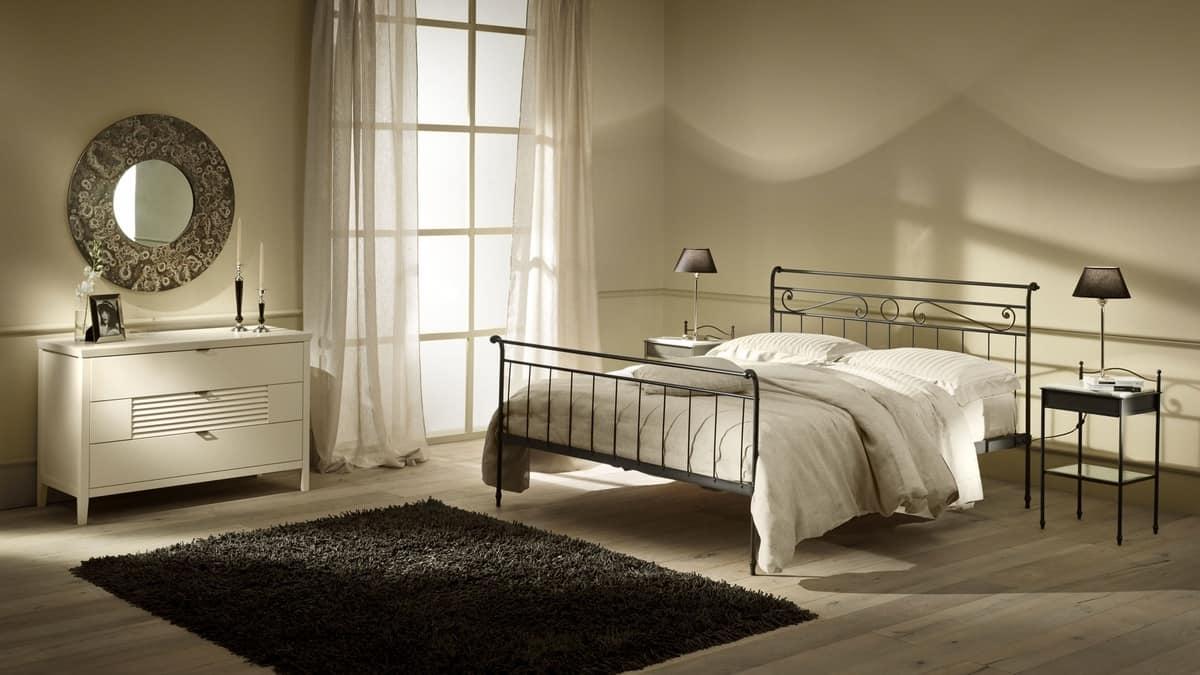 Moderne Bett in Eisen, Technik Heiß Verschrauben angewendet | IDFdesign
