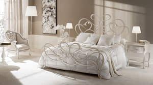 Rocco Bett, Bett in gezeichnet Eisen, verjüngte und geschmiedeten Elementen