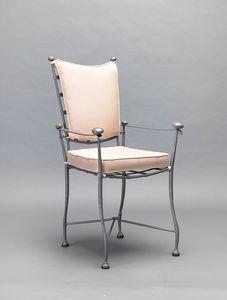 INTRECCIO GF4004CH-A, Gartenstuhl aus Eisen mit Armlehnen