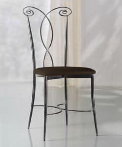 Klimt Stuhl, Metallstuhl, Ledersitz, für die Außenseite