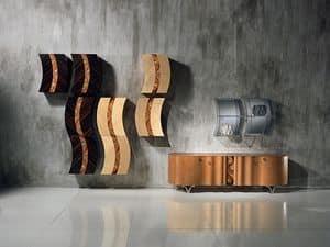 MB35 MB36 Mistral, Modulares Oberschränke mit Dekor aus Holz und Metall