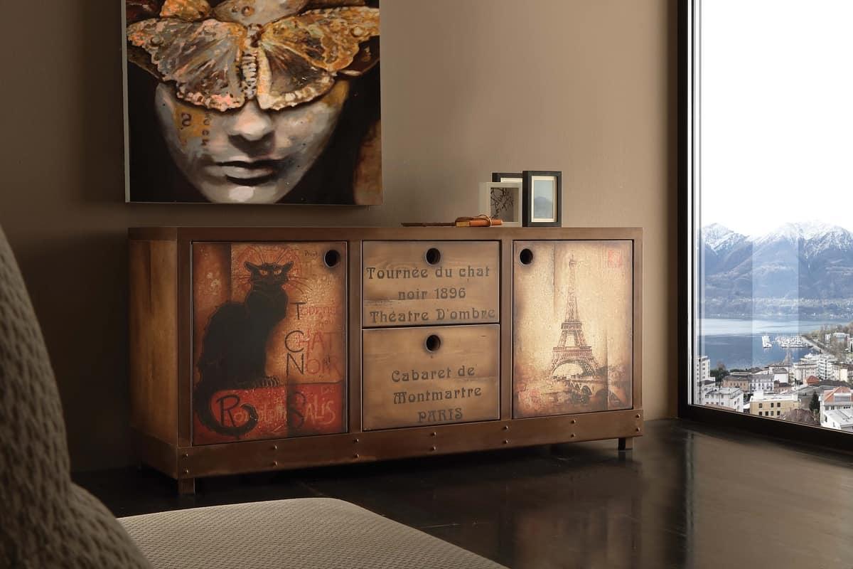 Vintage Sideboard Rost Effekt Finish Und Gealtertem Holz Idfdesign
