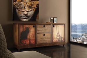 Art. 710CN Industrial Vintage Sideboard, Vintage Sideboard, Rost-Effekt-Finish und gealtertem Holz
