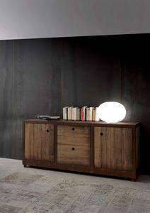 Art. 710MD Industrial Vintage Madia, Anrichte aus massivem Fichtenholz, Vintage-Stil