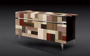 ATHENA 1.7 PW90 LA-BLACK, 3 Türen Sideboard, 2 Schubladen, hochwertige Oberflächen, ideal für moderne Wohnumfeld