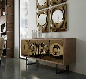 Bolle Sideboard, Sideboard mit Spiegelplatten und Quaderbeinen