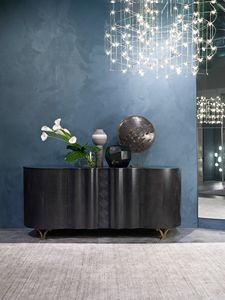 CR62B Mistral, Hohes Sideboard in dunklem Fregé Sycomoro