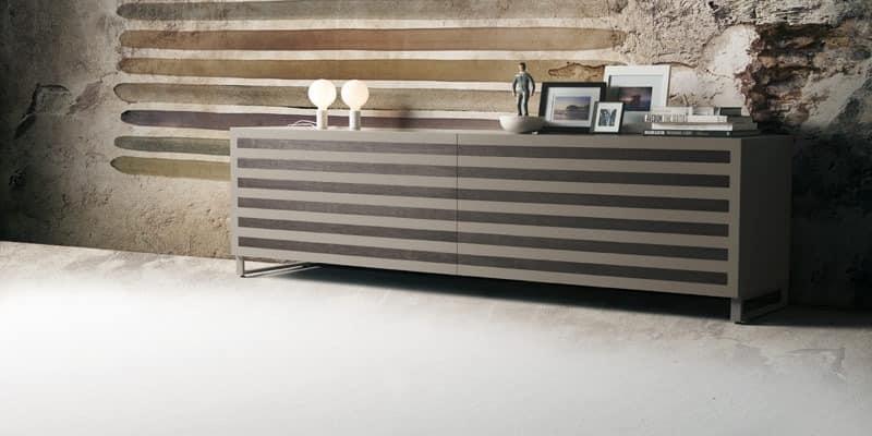seitenschrank aus holz mit 2 schiebet ren walnuss eins tze idfdesign. Black Bedroom Furniture Sets. Home Design Ideas